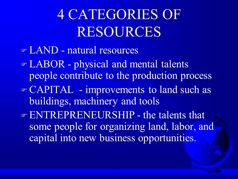 4 CATEGORIES OF RESOURCES