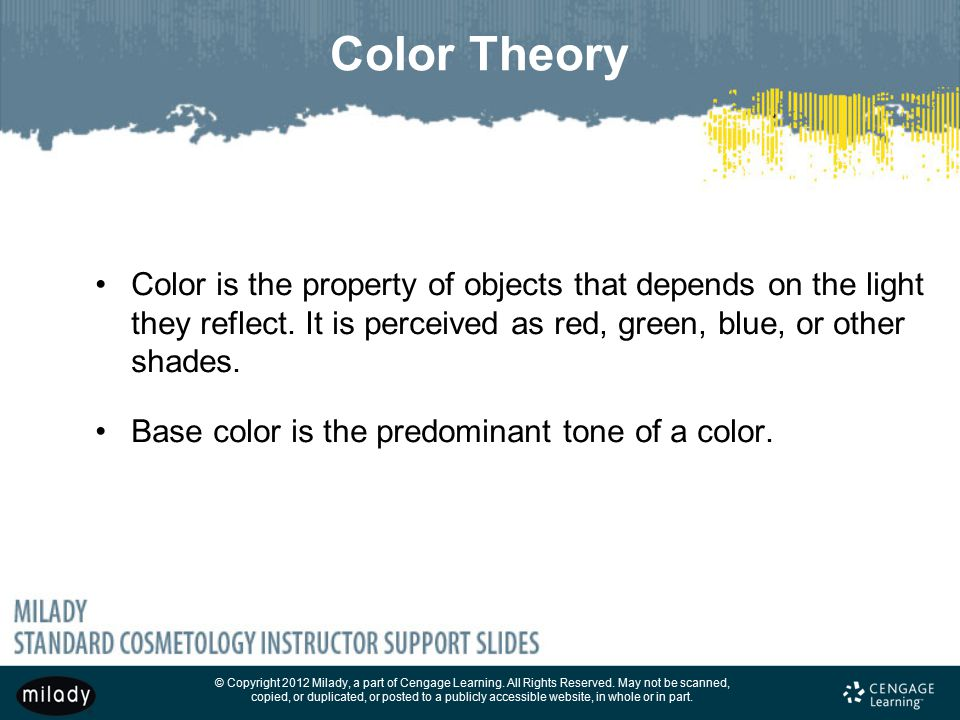 Color Theory Color is the property of objects that depends on the light they reflect. It is perceived as red, green, blue, or other shades.