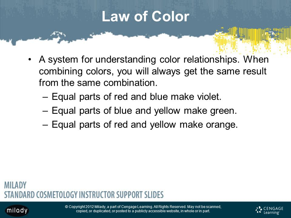 Law of Color A system for understanding color relationships. When combining colors, you will always get the same result from the same combination.