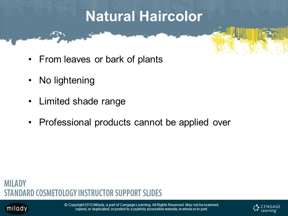 Natural Haircolor From leaves or bark of plants No lightening