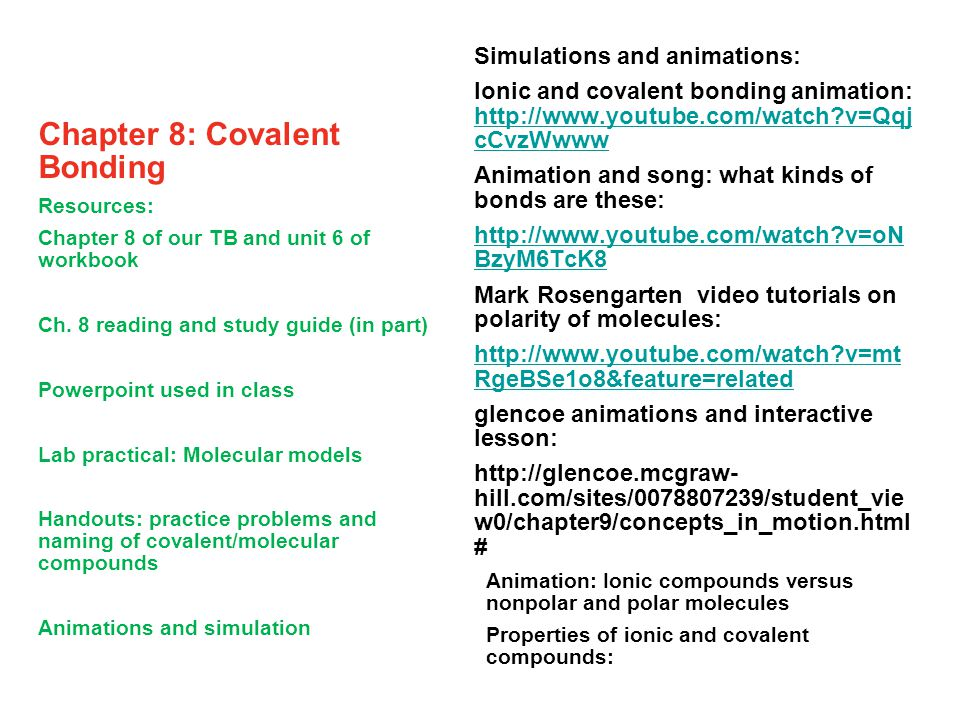 Chapter 8: Covalent Bonding - ppt video online download