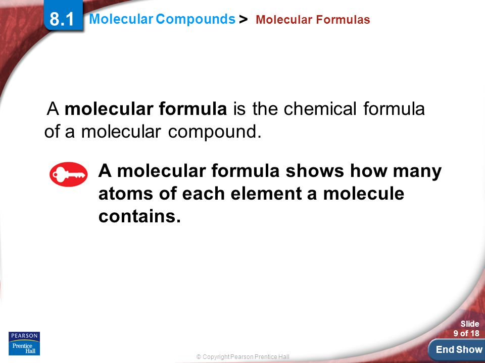 A molecular formula is the chemical formula of a molecular compound.