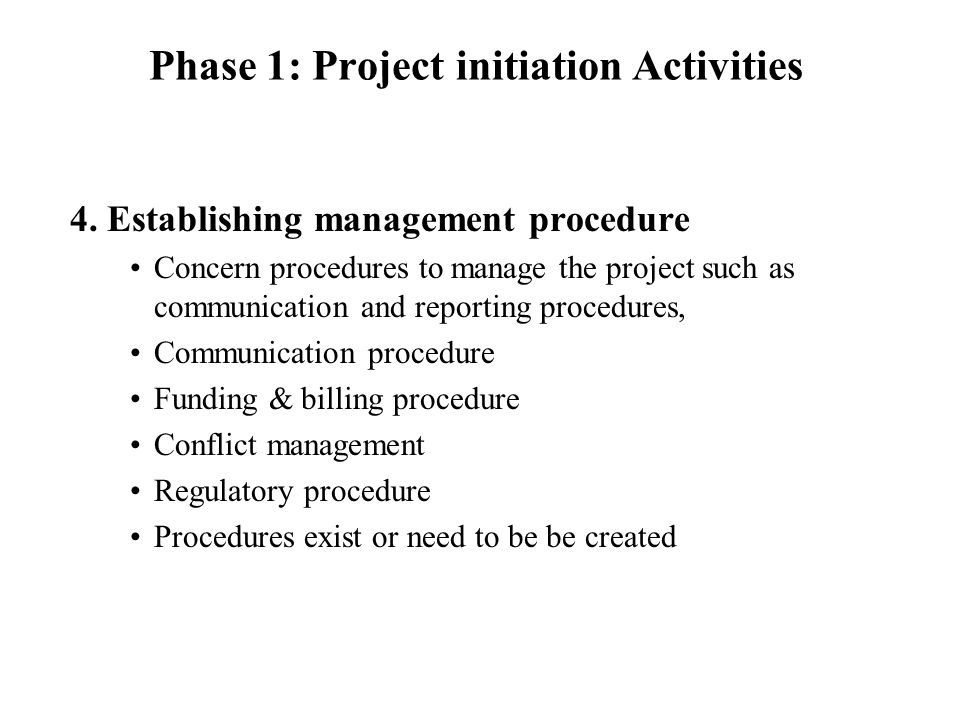 Phase 1: Project initiation Activities