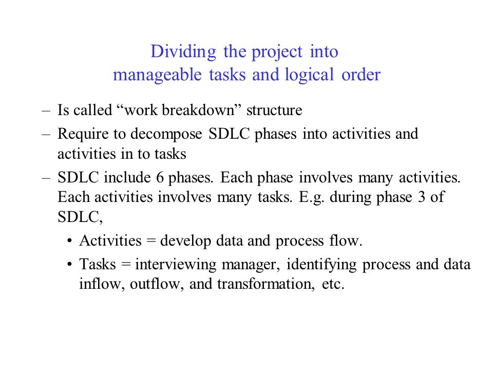Dividing the project into manageable tasks and logical order