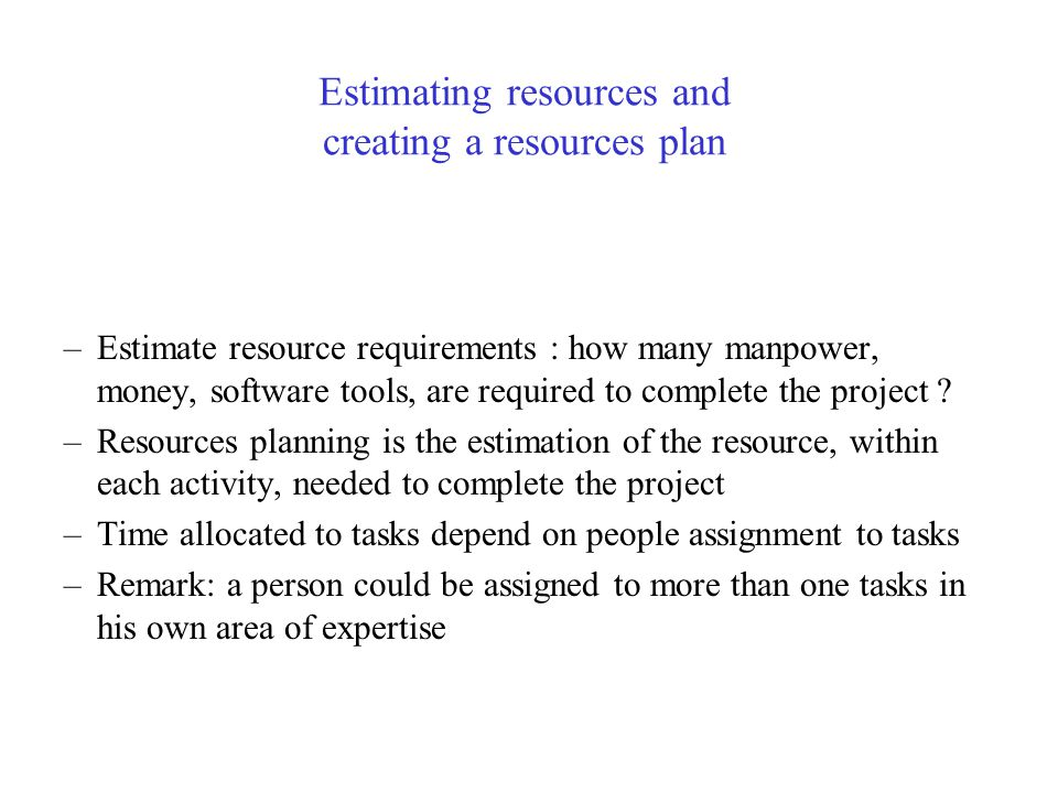 Estimating resources and creating a resources plan