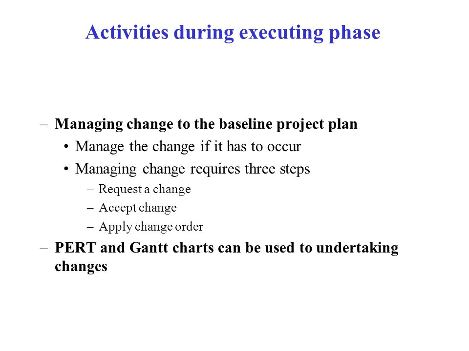 Activities during executing phase