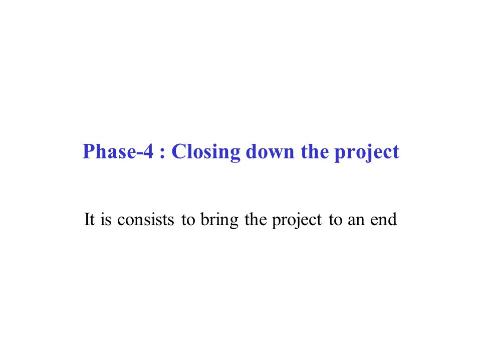 Phase-4 : Closing down the project