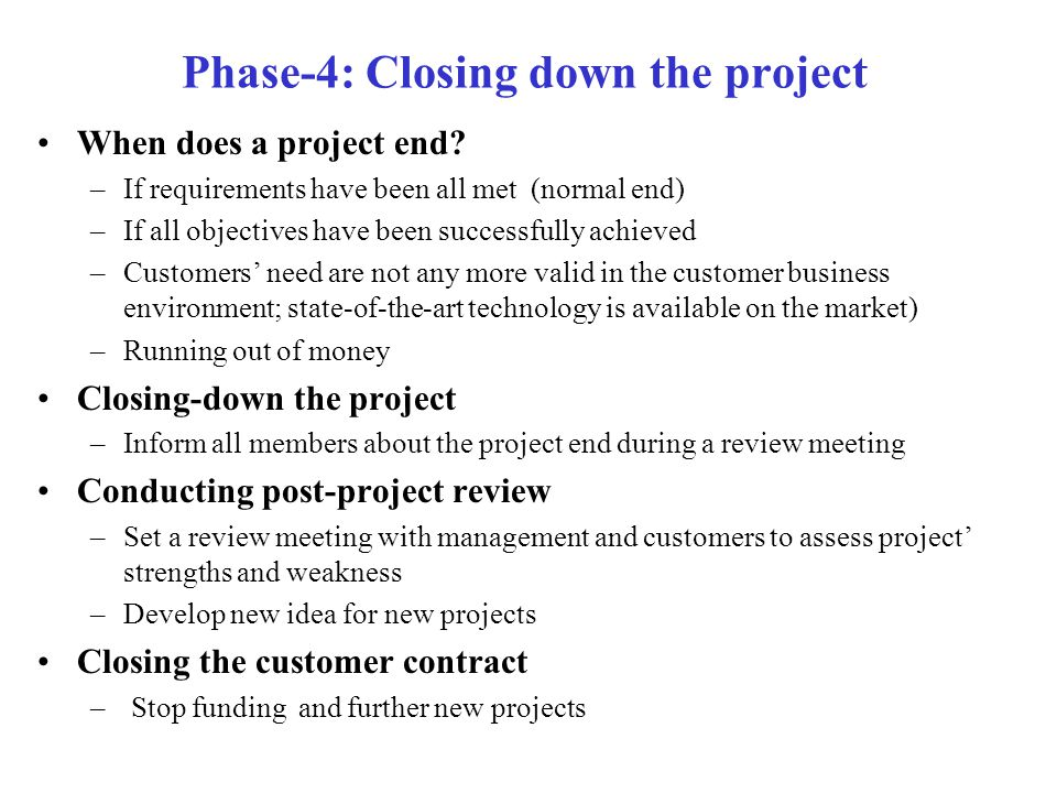 Phase-4: Closing down the project