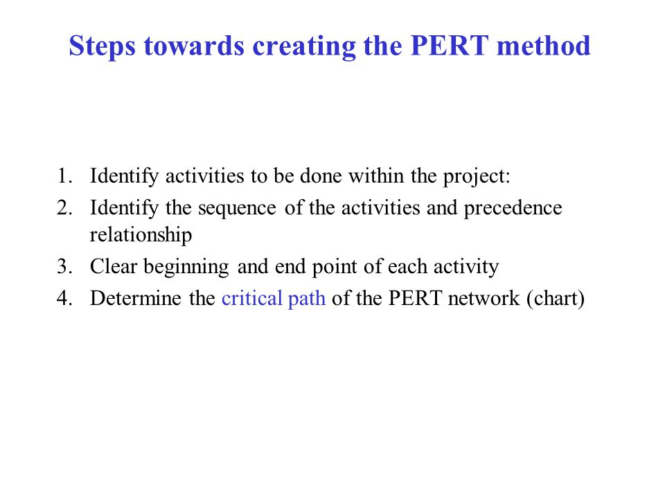 Steps towards creating the PERT method