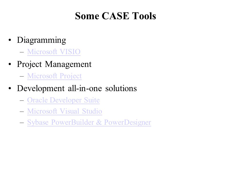 Some CASE Tools Diagramming Project Management