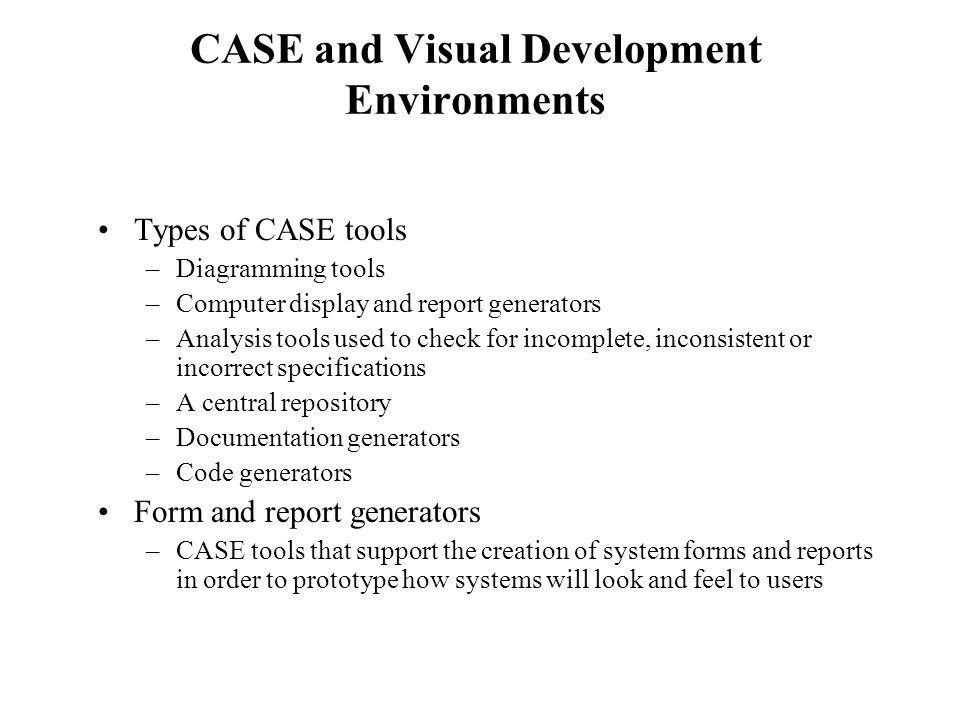 CASE and Visual Development Environments