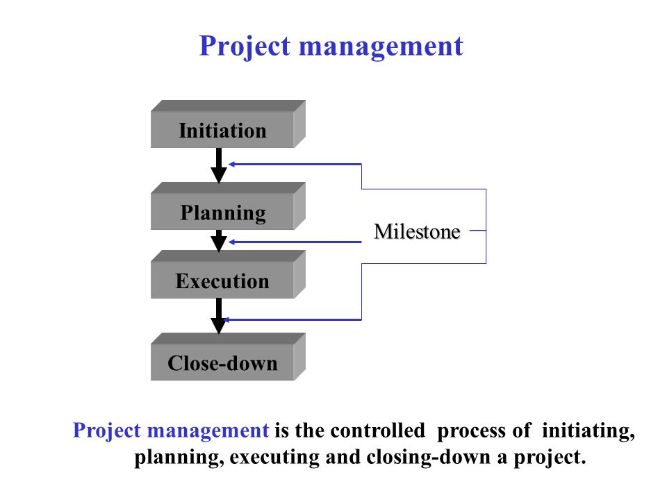 planning, executing and closing-down a project.