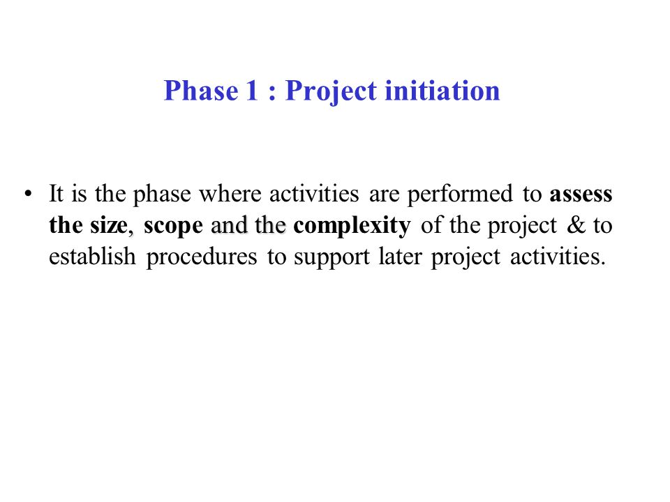 Phase 1 : Project initiation