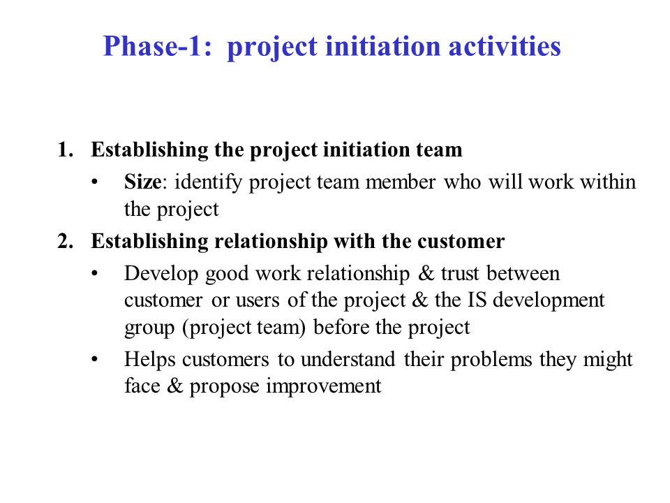 Phase-1: project initiation activities