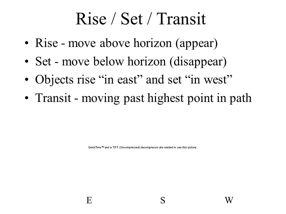 Rise / Set / Transit Rise - move above horizon (appear)