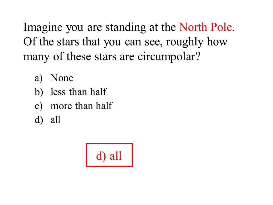 Imagine you are standing at the North Pole