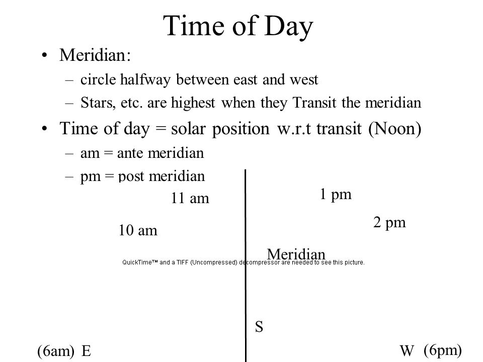 Time of Day Meridian: circle halfway between east and west. Stars, etc. are highest when they Transit the meridian.
