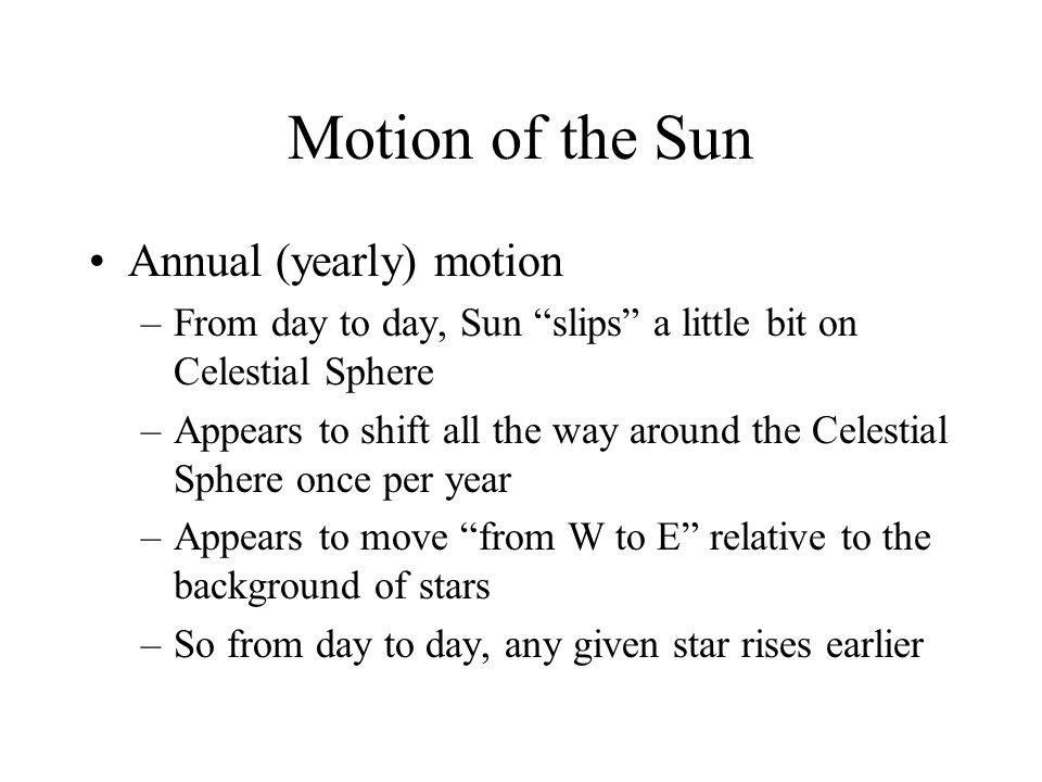 Motion of the Sun Annual (yearly) motion