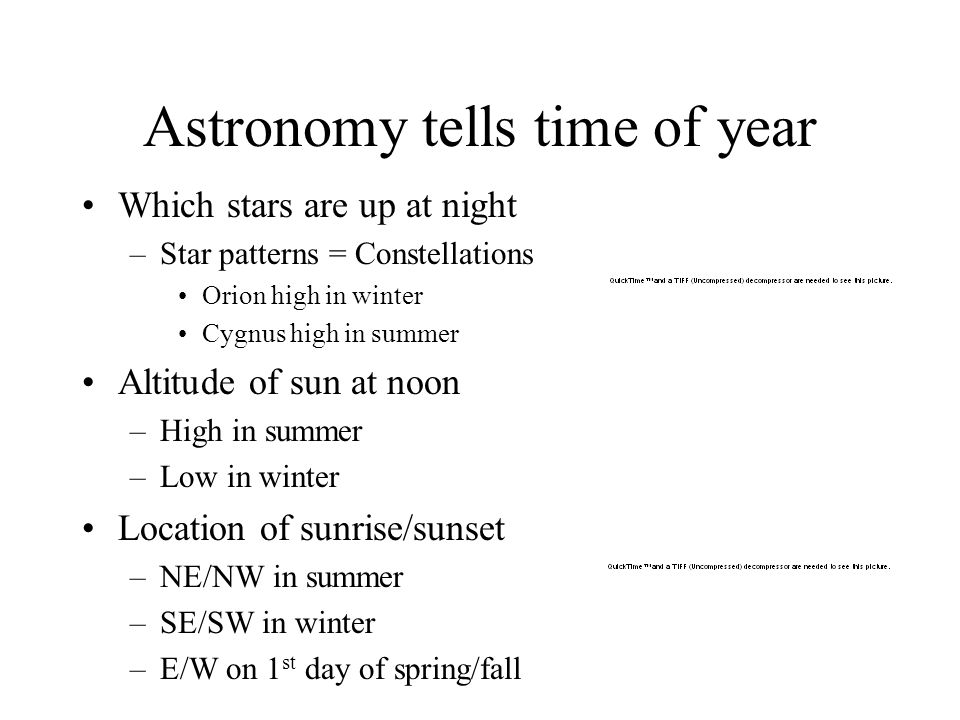 Astronomy tells time of year