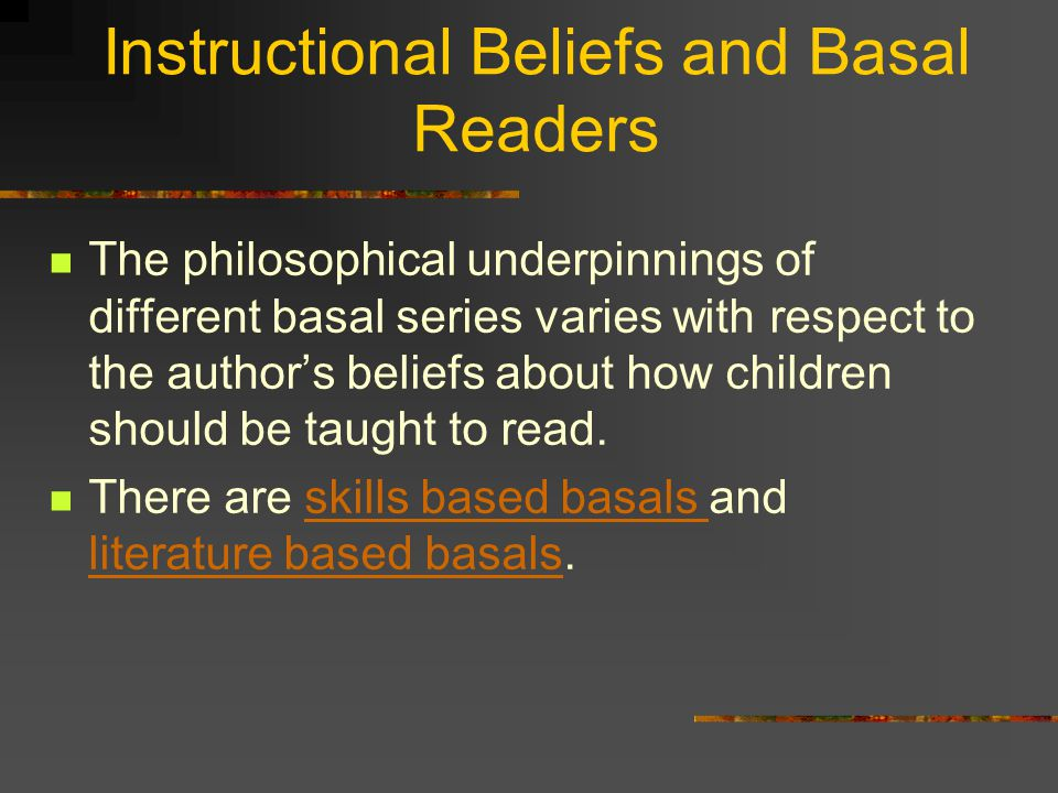 Instructional Beliefs and Basal Readers