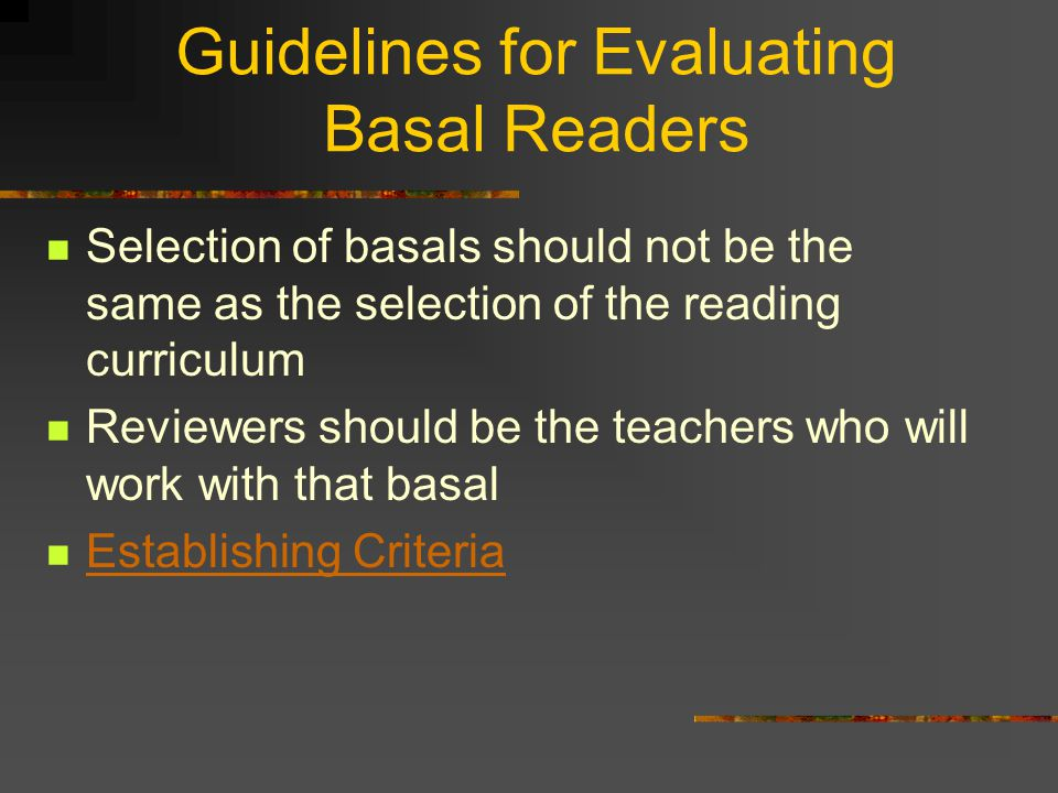 Guidelines for Evaluating Basal Readers