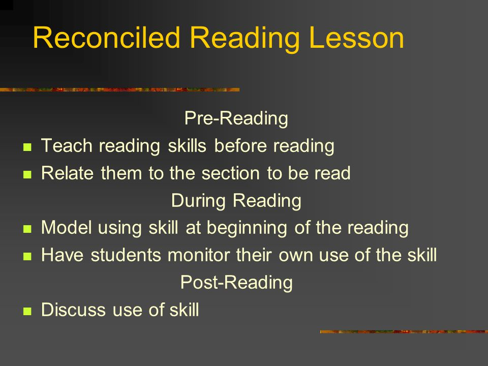 Reconciled Reading Lesson