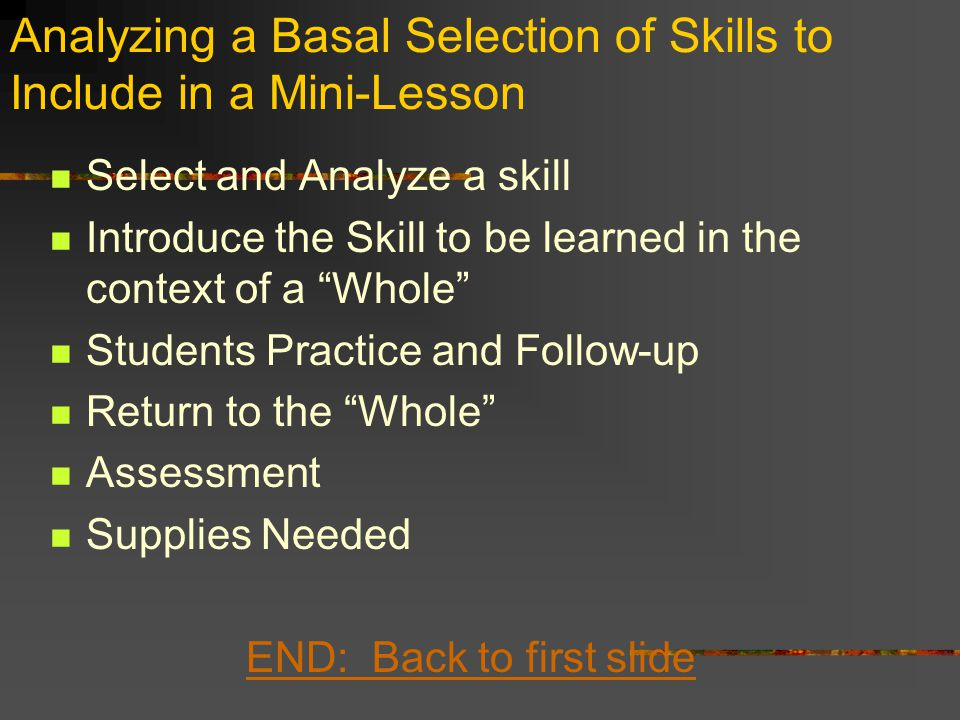 Analyzing a Basal Selection of Skills to Include in a Mini-Lesson