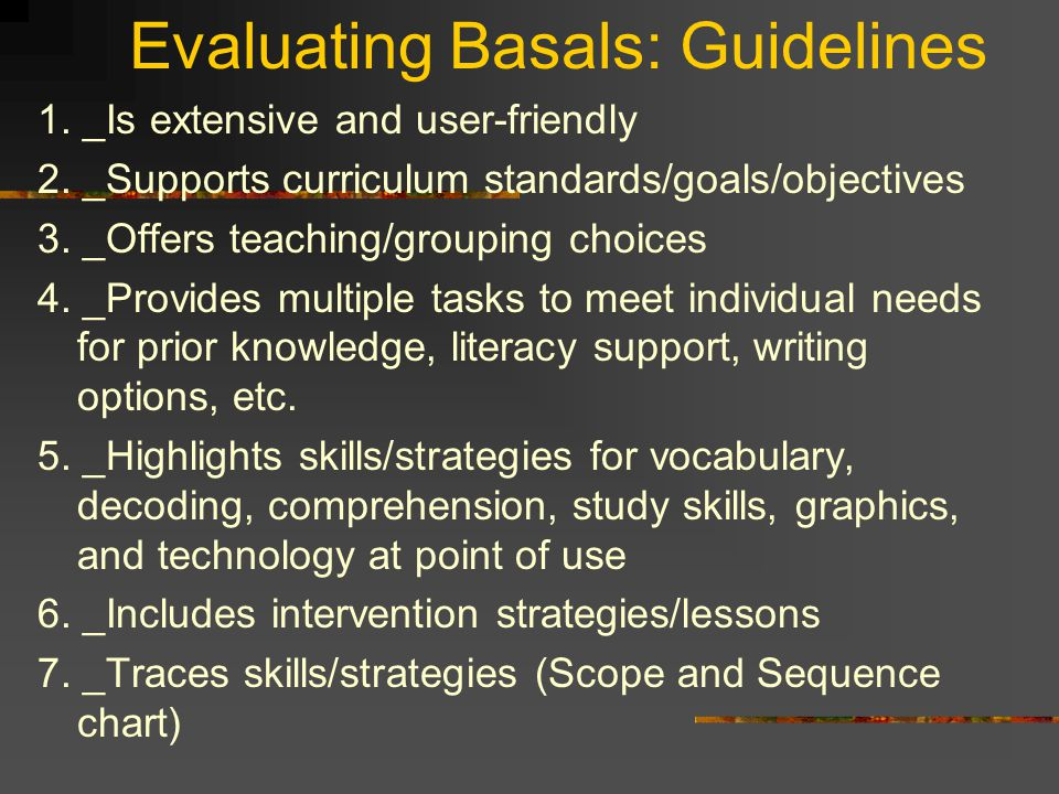 Evaluating Basals: Guidelines