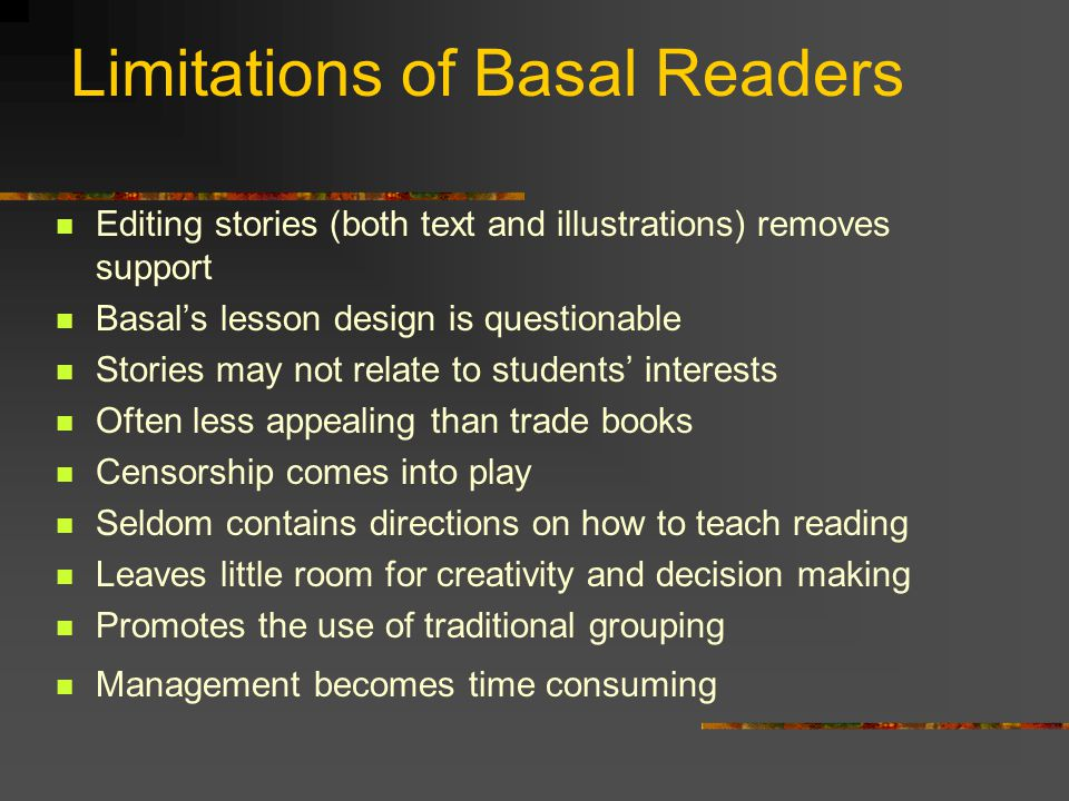 Limitations of Basal Readers