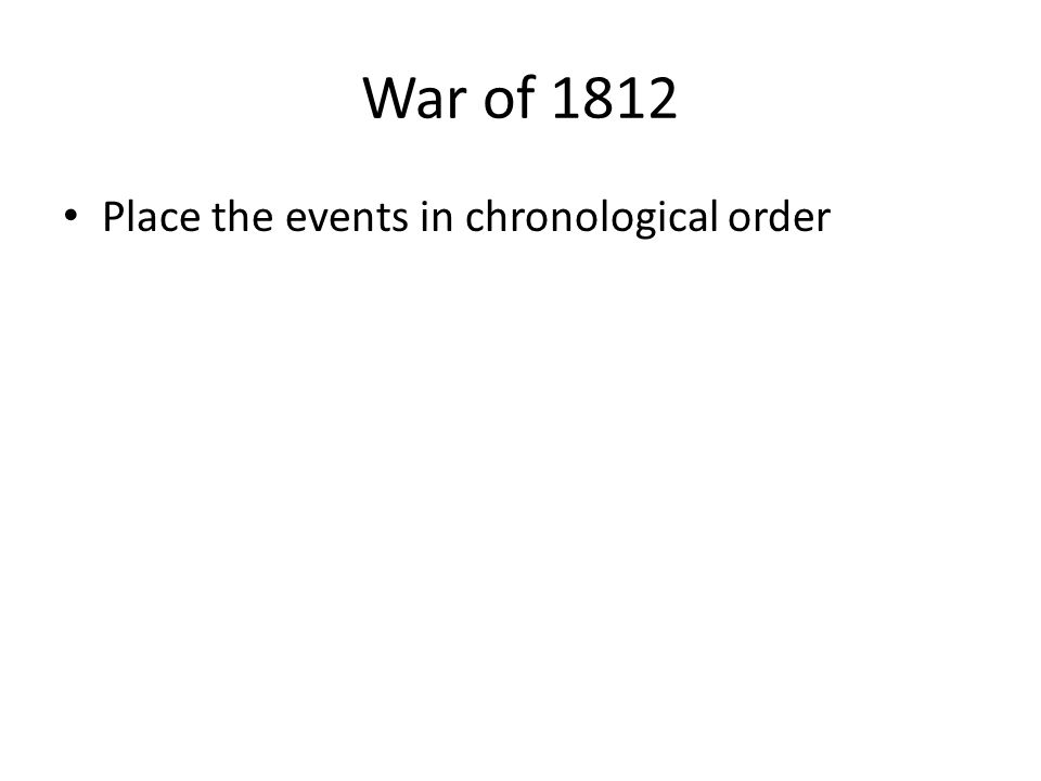 War of 1812 Place the events in chronological order