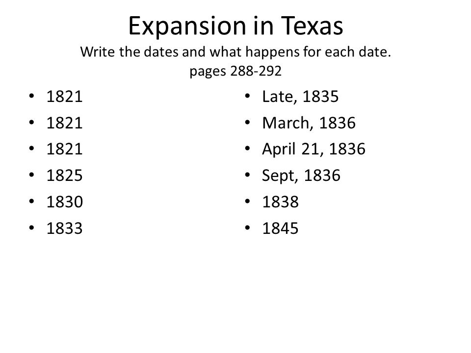Expansion in Texas Write the dates and what happens for each date