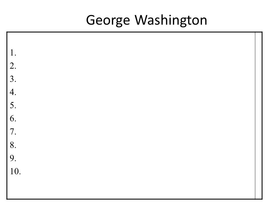 George Washington 1. 2. 3. 4. 5. 6. 7. 8. 9. 10.