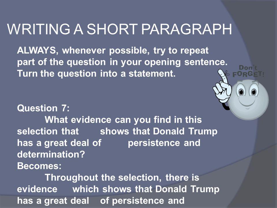 WRITING A SHORT PARAGRAPH