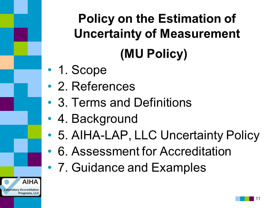 Policy on the Estimation of Uncertainty of Measurement