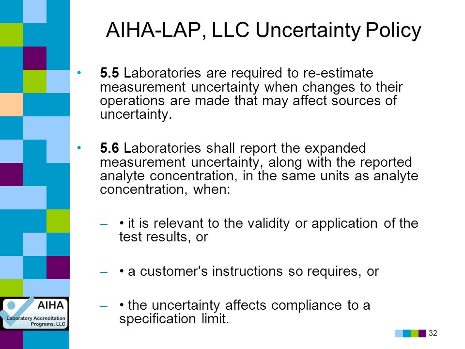 AIHA-LAP, LLC Uncertainty Policy