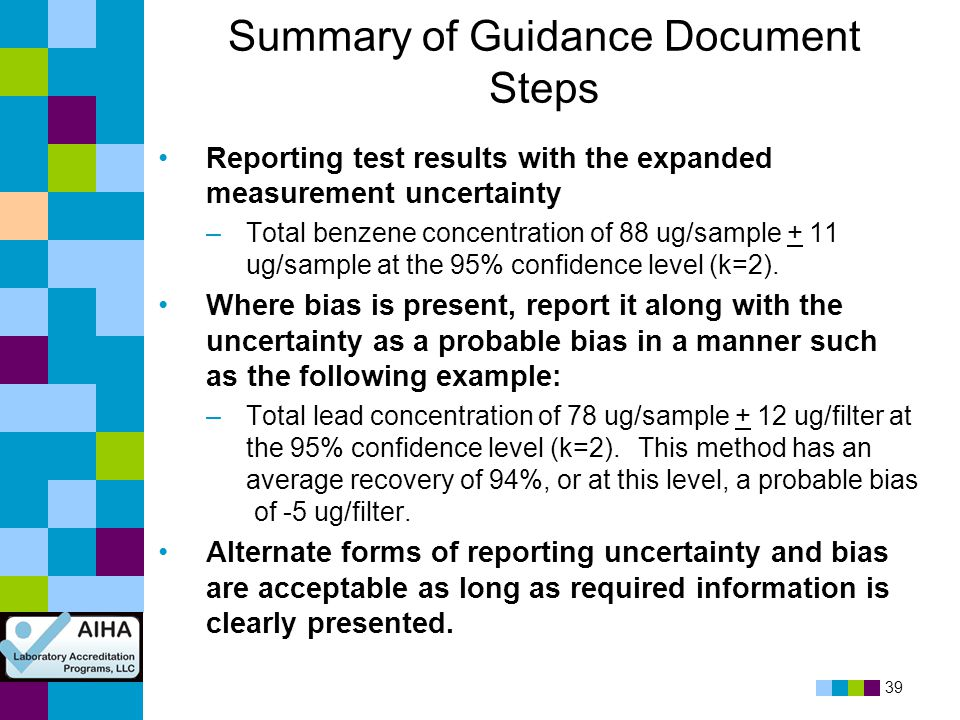 Summary of Guidance Document Steps