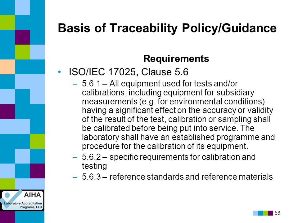 Basis of Traceability Policy/Guidance