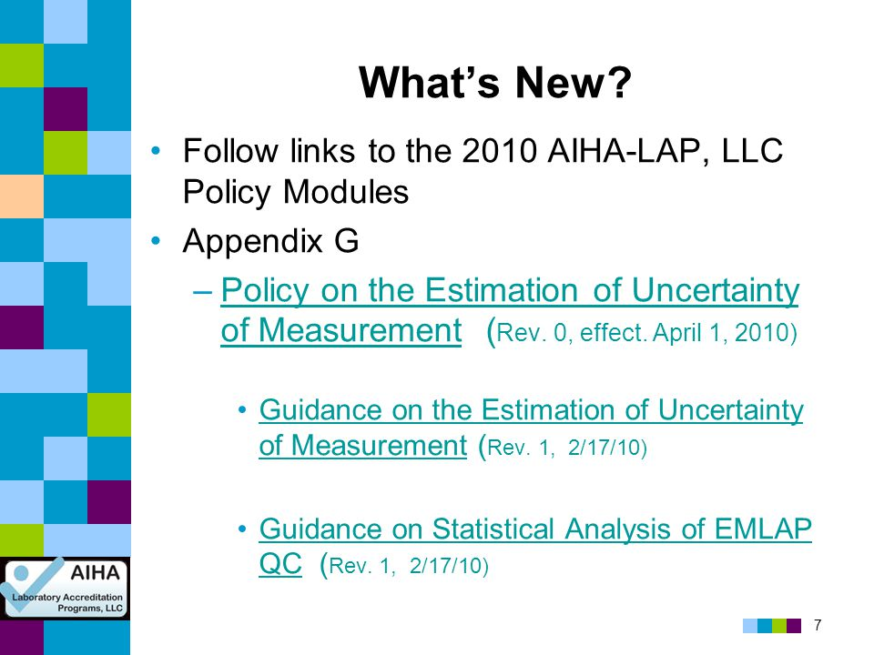 What's New Follow links to the 2010 AIHA-LAP, LLC Policy Modules