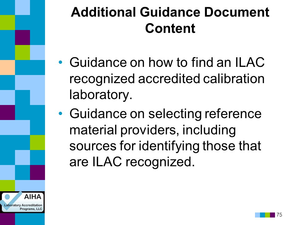 Additional Guidance Document Content
