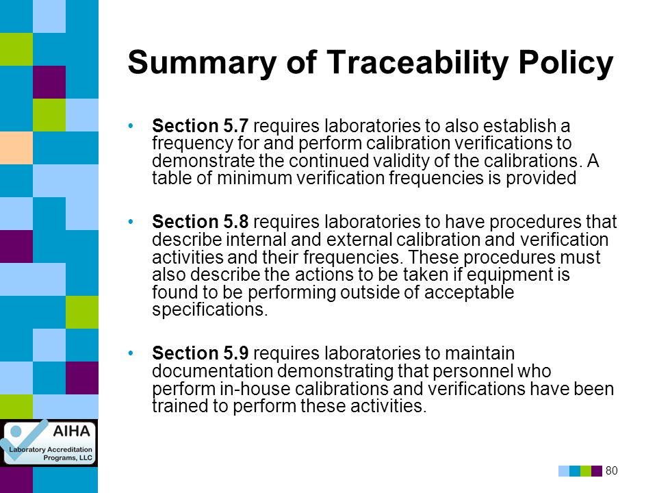 Summary of Traceability Policy