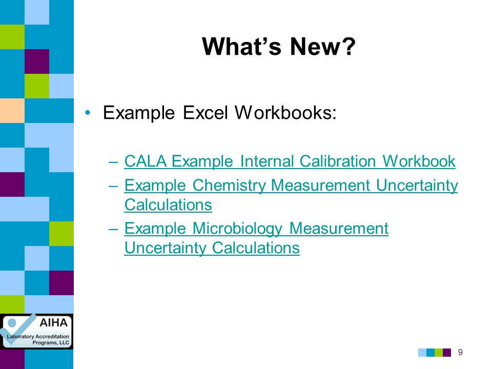 What's New Example Excel Workbooks:
