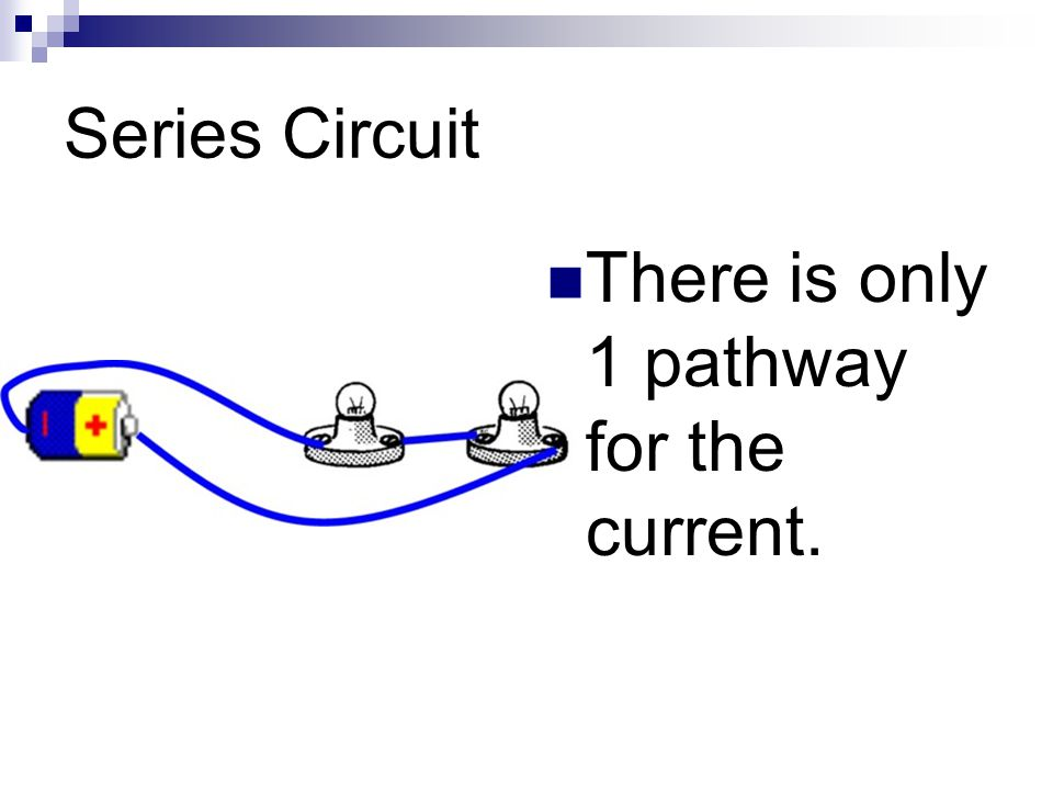 Series Circuit There is only 1 pathway for the current.