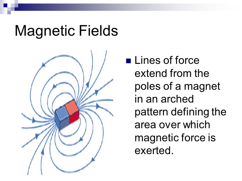 Magnetic Fields Lines of force extend from the poles of a magnet in an arched pattern defining the area over which magnetic force is exerted.