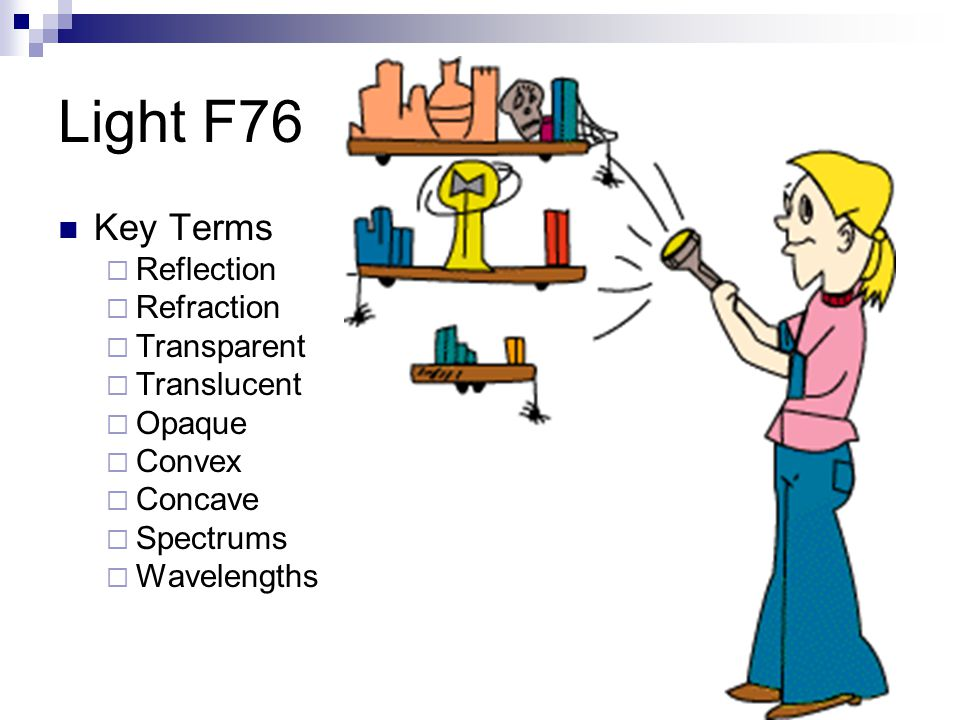 Light F76 Key Terms Reflection Refraction Transparent Translucent