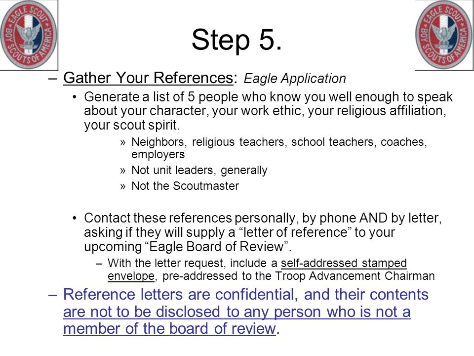 Step 5. Gather Your References: Eagle Application