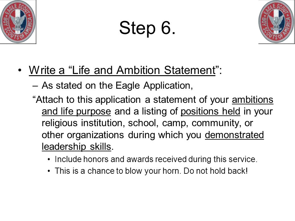 How to write an eagle scout life statement
