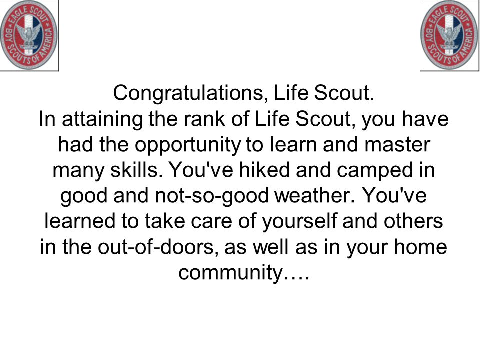 Congratulations, Life Scout