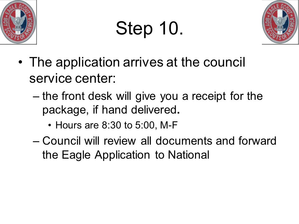 Step 10. The application arrives at the council service center: