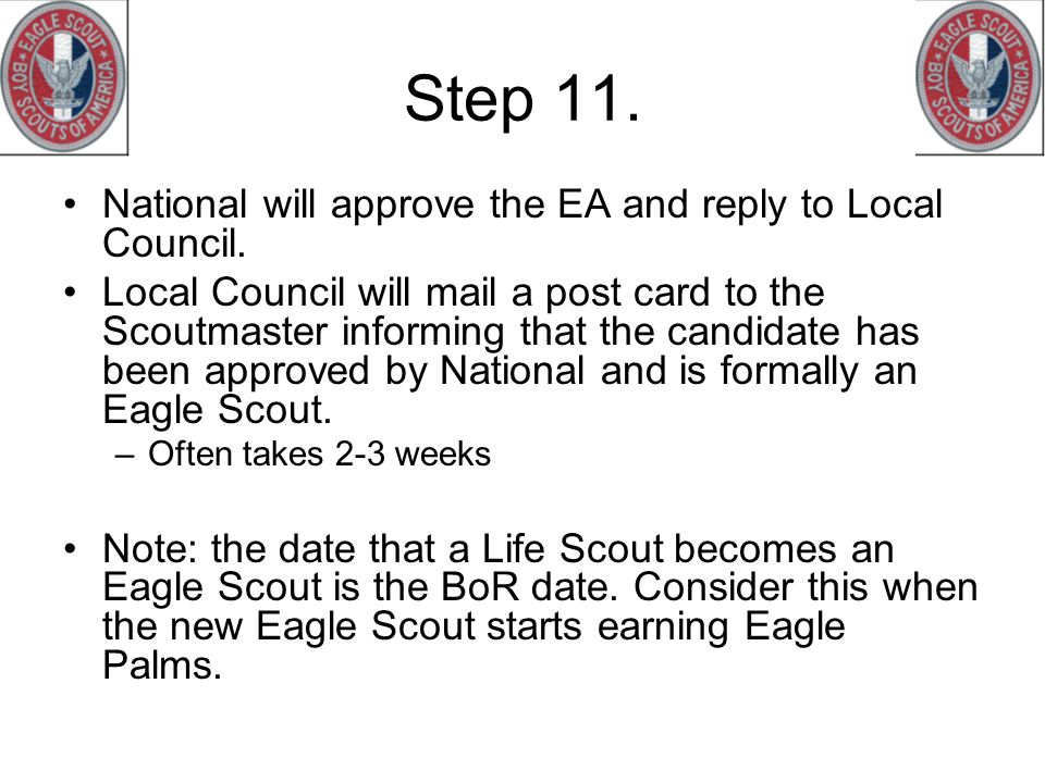Step 11. National will approve the EA and reply to Local Council.
