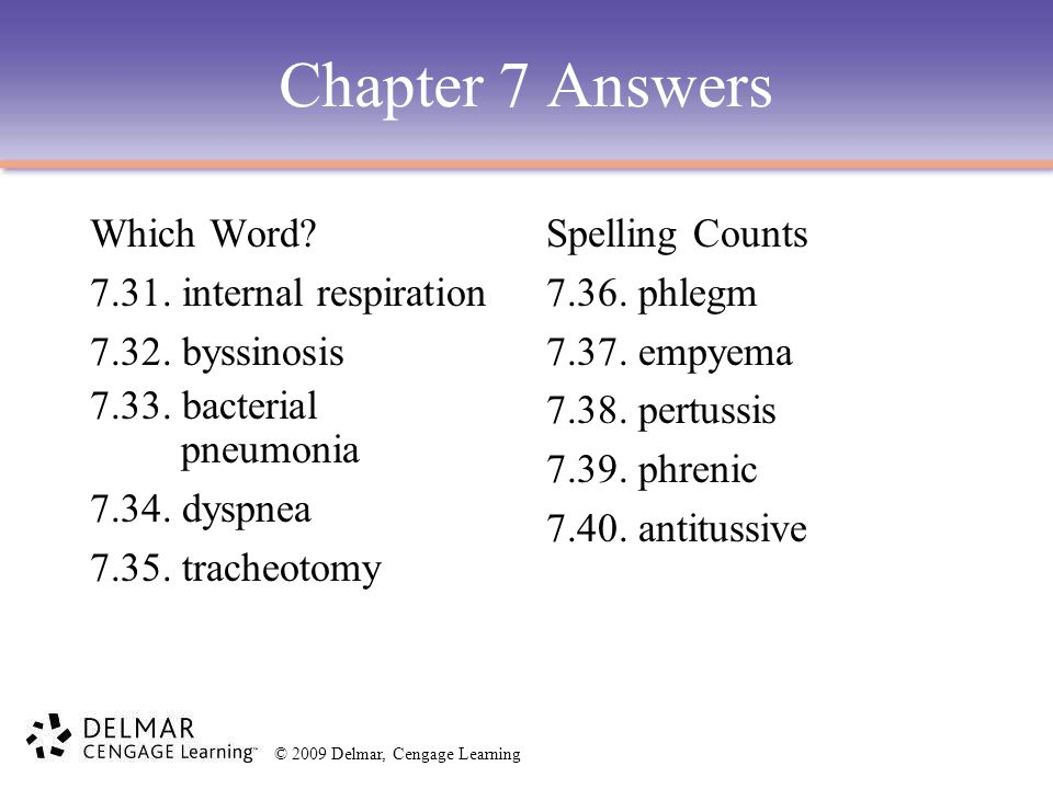 Chapter 7 Answers Which Word 7.31. internal respiration